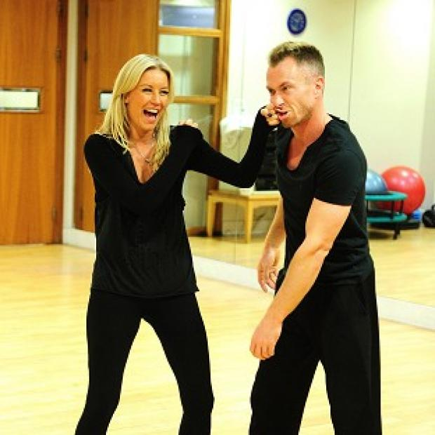 Burnley and Pendle Citizen: Denise Van Outen and James Jordan mess around during their training for Strictly Come Dancing