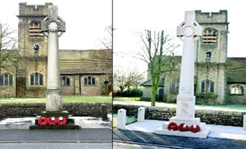 Colne war memorial - pictures before and after it was cleaned up