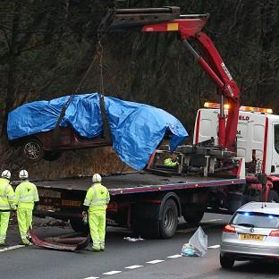 The scene of a crash on the M6 northbound carriageway in which two young brothers and their aunt died on Christmas Day