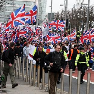 Loyalist protesters converged on Belfast City Hall but the demonstration passed off peacefully