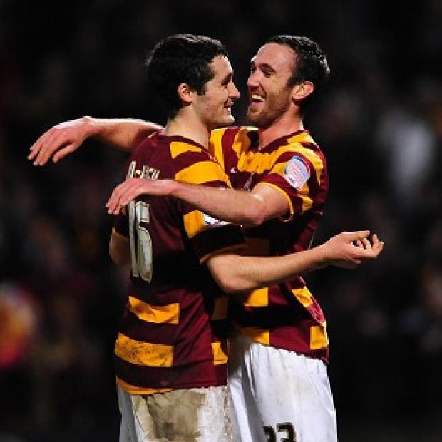 Carl McHugh, left, and Rory McArdle were on target for Bradford