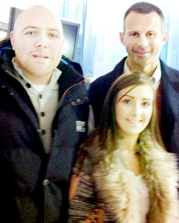 Tom and Tammy Cooper with Manchester United Ryan Giggs at the Christie Hospital