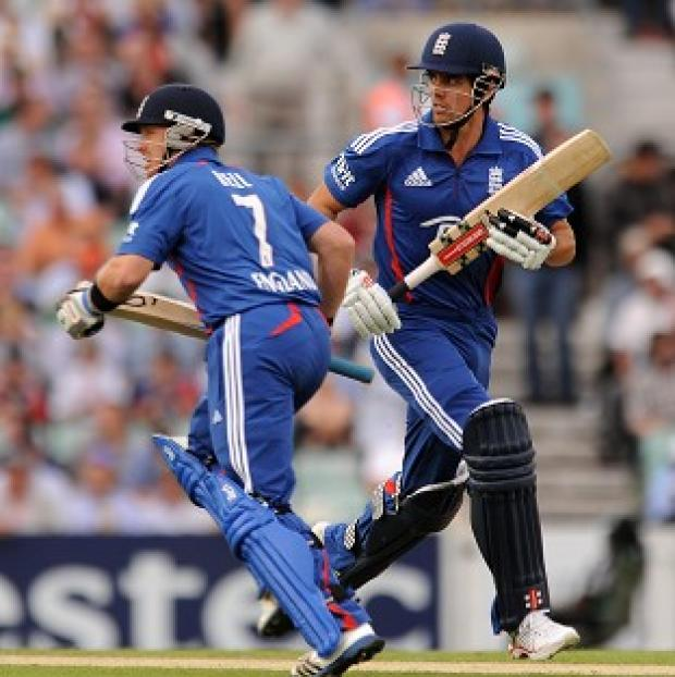 Burnley and Pendle Citizen: Ian Bell, left and Alastair Cook, right, reached 74 without loss after 15 overs in the first ODI