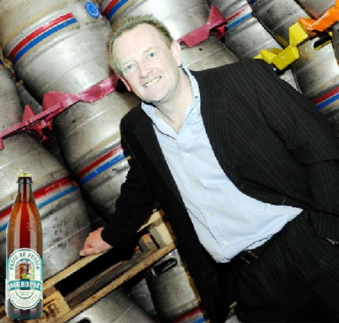 SALES UP David Grant Moorhouse's managing director and left, a bottle of Pride of Pendle