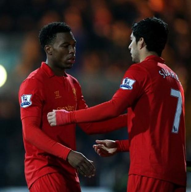 Daniel Sturridge, left, and Luis Suarez were both on target in the emphatic win