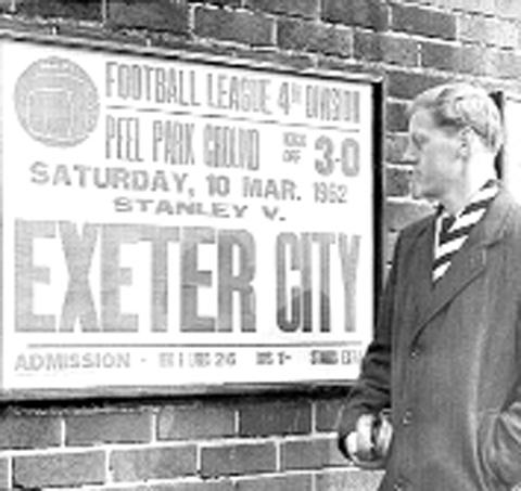 A poster advertising a 1962 game between Stanley and Exeter