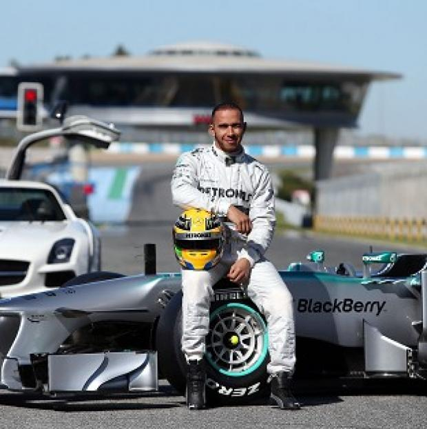 Lewis Hamilton at the launch of the new W04 in Jerez