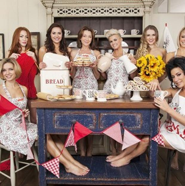 Kerry Katona was among stars who wore only aprons for the Comic Relief photoshoot