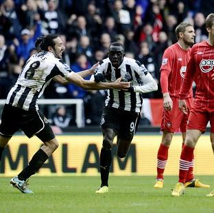 Papiss Cisse, centre, put Newcastle ahead against Southampton just before half-time