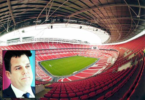Wembley Stadium and (inset) Chief executive Philip Wilson