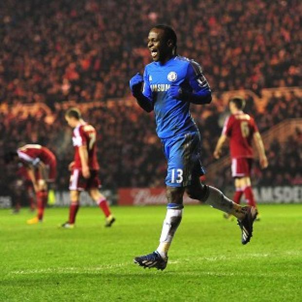 Victor Moses celebrates scoring Chelsea's goal to ensure their passage through