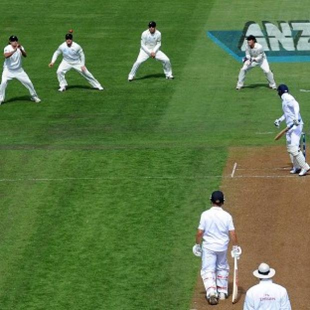 Joe Root is caught behind as England struggled on the opening day in Dunedin