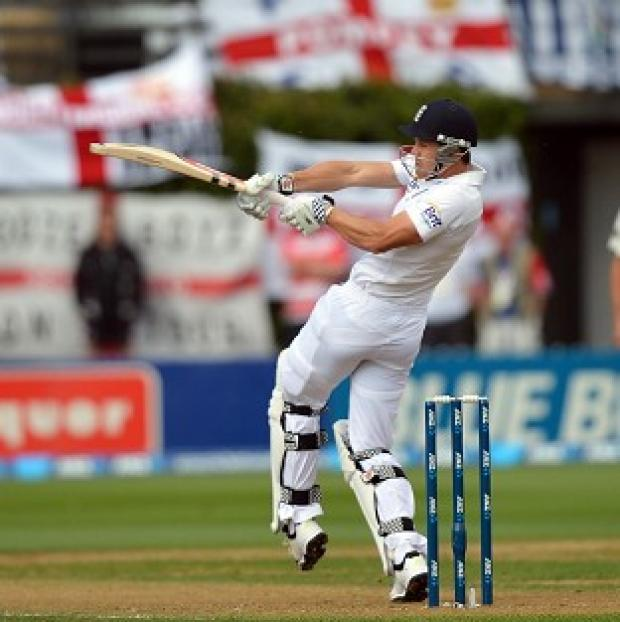 Nick Compton pulls away a short delivery on the opening morning in Wellington