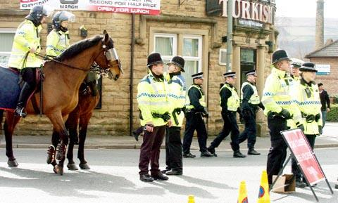 Police near Turf Moor on the last derby day
