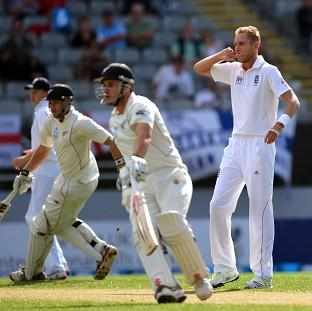 Stuart Broad, right, found few reasons to be cheerful in the early stages of the third Test