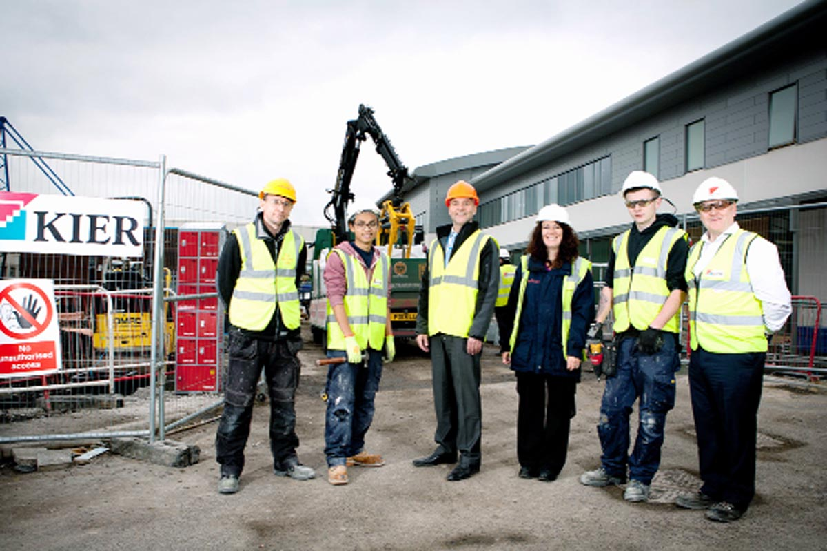 From left, joinery supervisor Colin Redgrave, Markin Kingthong, operational estates manager Duncan Hodgkinson, Calico's skills and enterprise co-ordinatorJane Smith, Callum Palmer, and Kier project manager Rick Smeaton