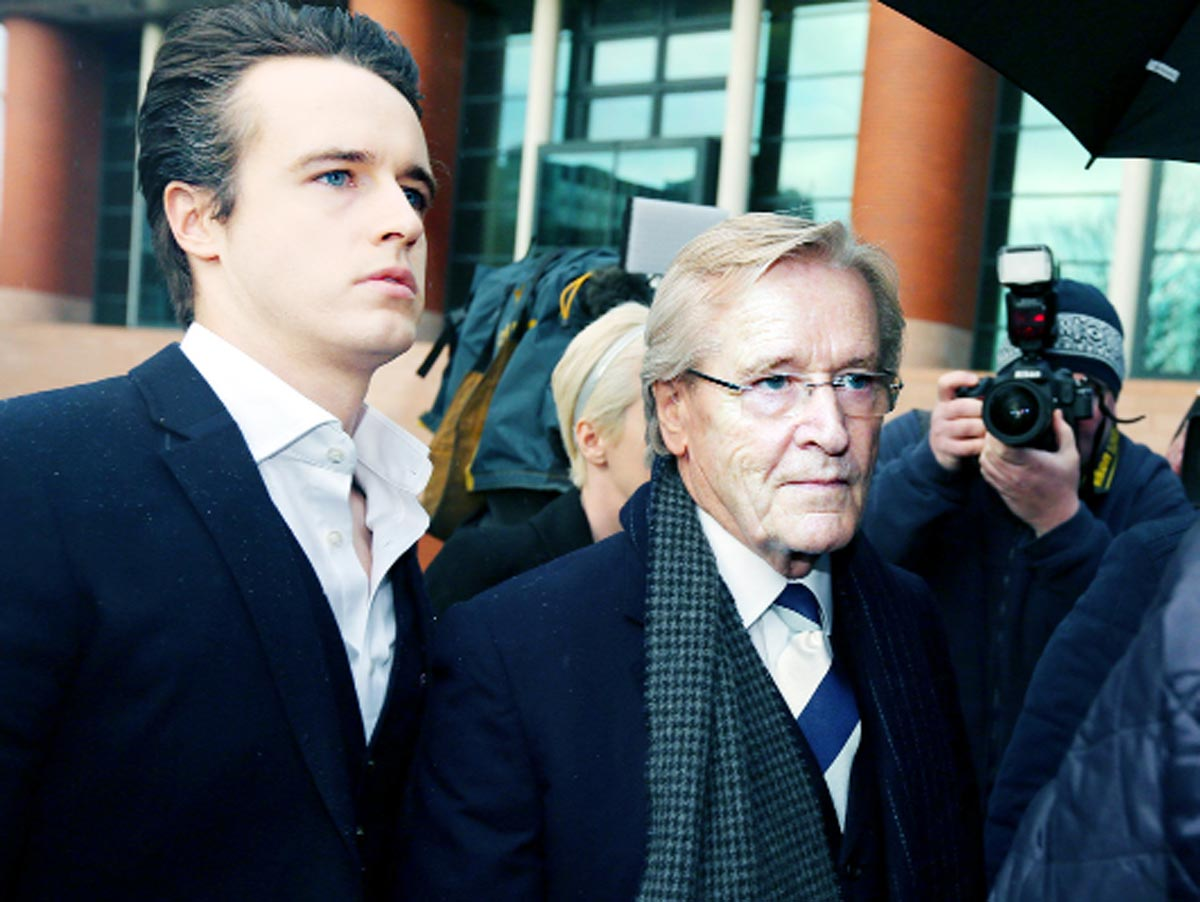 Actor William Roache arrives at Preston Crown Court with son James