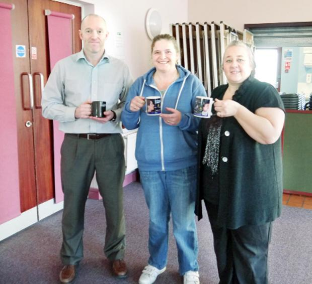 Peter, Tracy and Debra with the special mugs