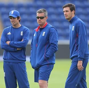 Ashley Giles, centre, has insisted Steven Finn,