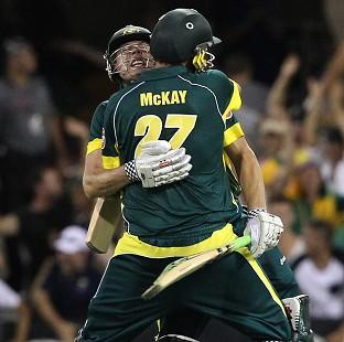 Burnley and Pendle Citizen: James Faulkner, left, and Clint McKay celebrate after helping Australia win the second ODI (AP)