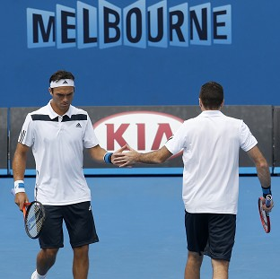 Ross Hutchins and Colin Fleming during their second round doubles match at the Australian Open tennis championship in Melbourne (AP)