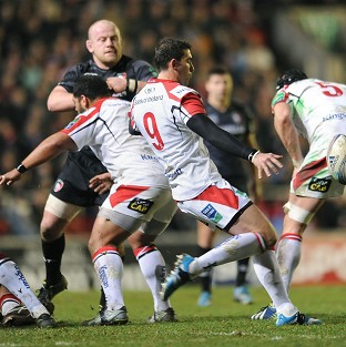 Ruan Pienaar, centre, produced a superb all-round display as Ulster edged out Leicester at Welford Road