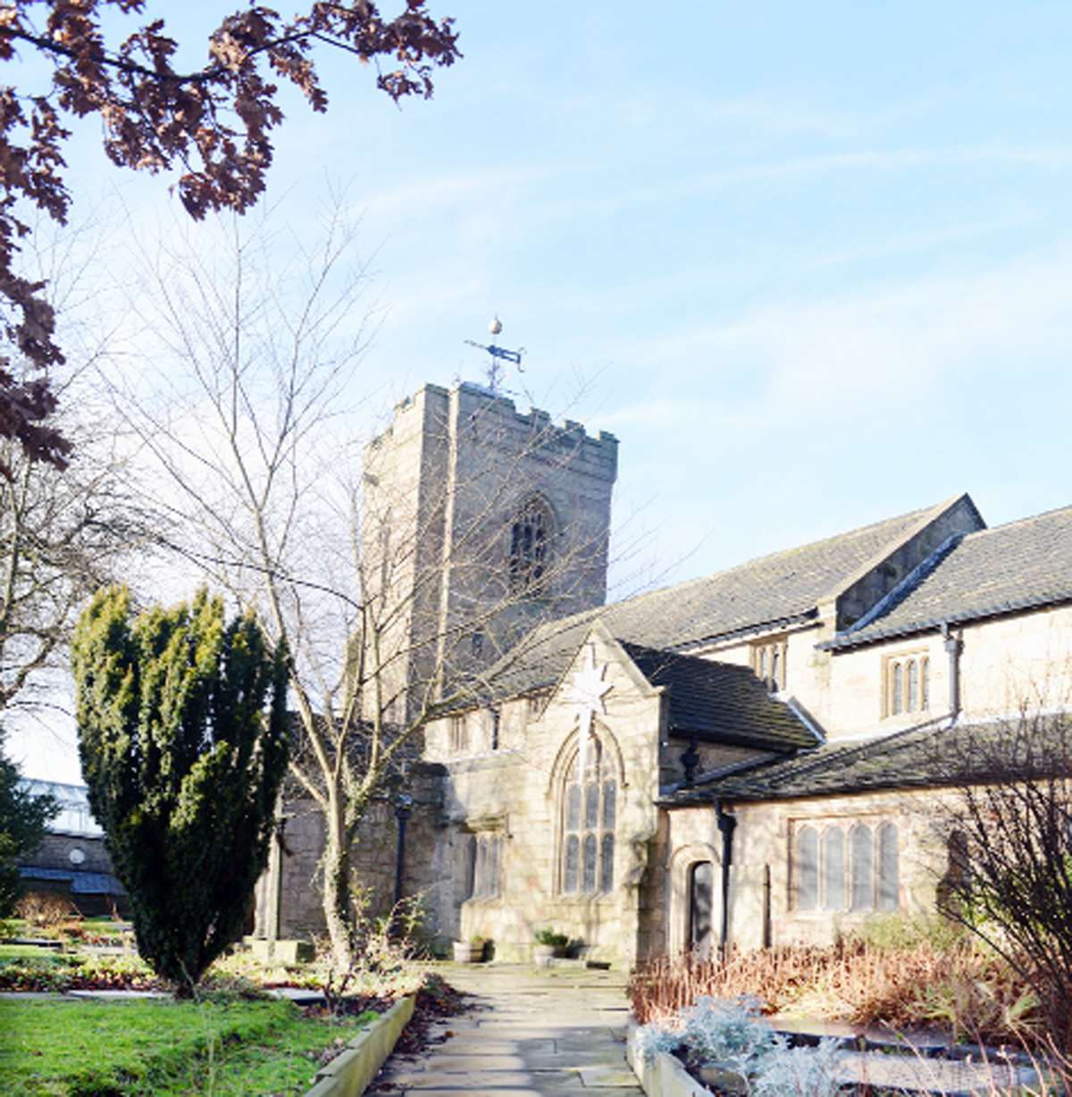 Colne Parish Church. Right, a view over Colne, Coun Ann Kerrigan and Colne Library