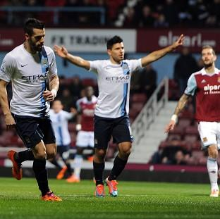 Alvaro Negredo, left, celebrates opening the scoring