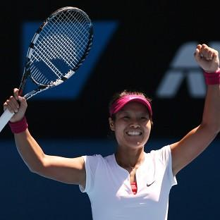 Li Na celebrates victory over Eugenie Bouchard to reach the Australian Open final (AP)