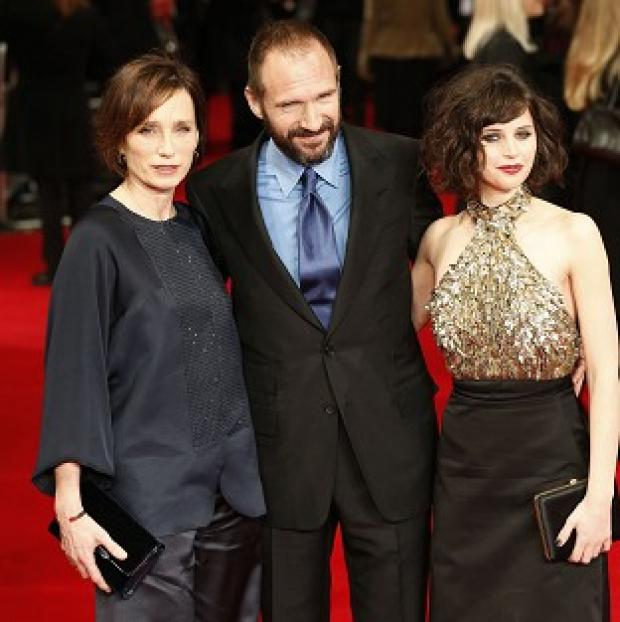 Burnley and Pendle Citizen: Kristin Scott Thomas (left), Ralph Fiennes and Felicity Jones arrive at the premiere of The Invisible Woman