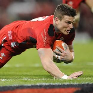 Scott Williams dives in to score the second try for Wales