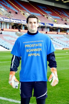 Clarets' keeper Tom Heaton models the VEKA-sponsored campaign T-shirts