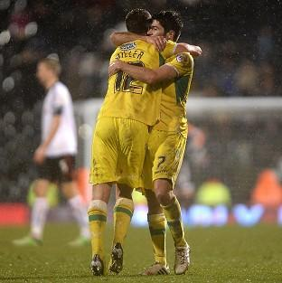 Shaun Miller, left, and Ryan Flynn celebrate Sheffield United's victory at Craven Cottage