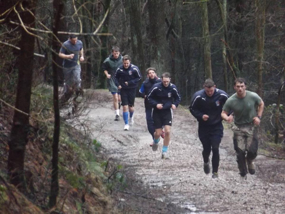 Matthew Mason, second from the right, in training for his challenge