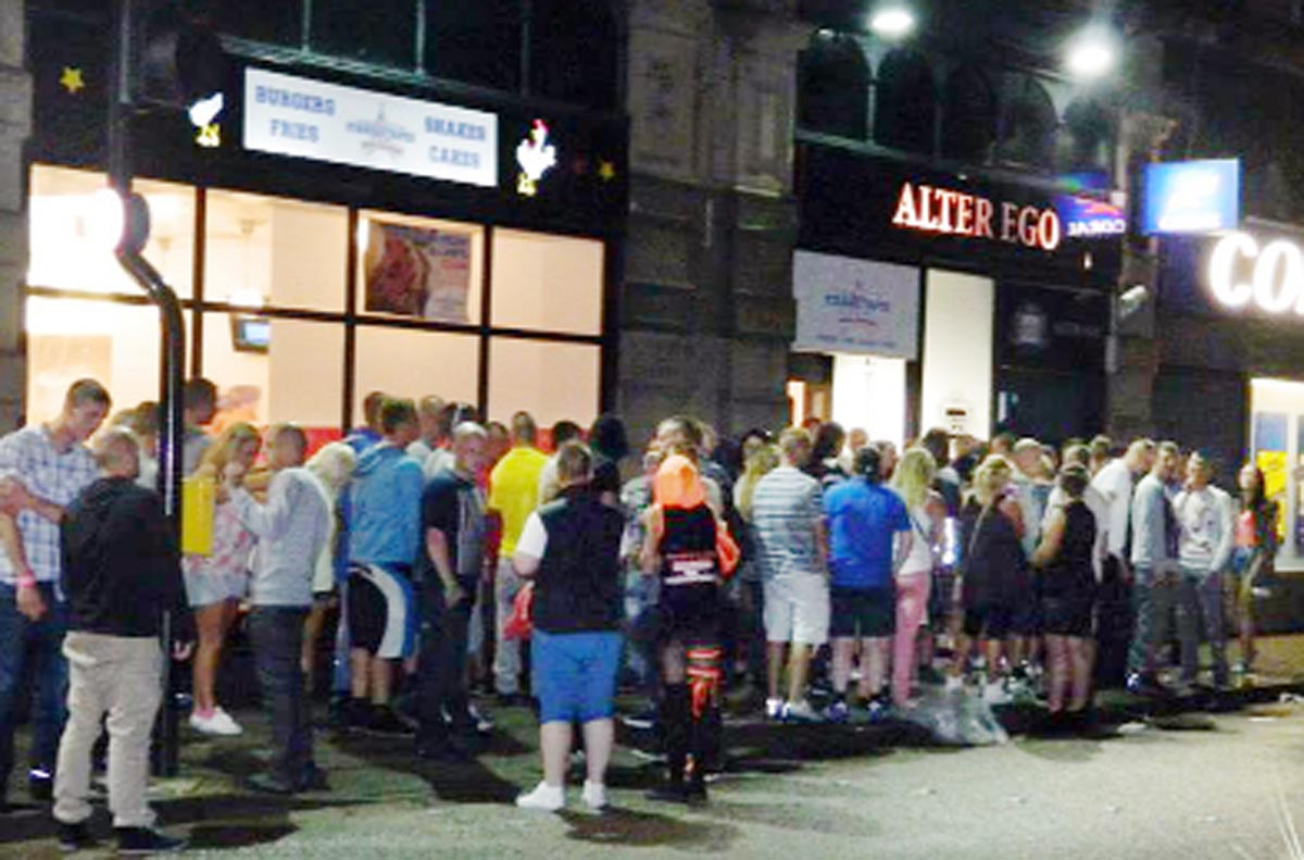 Crowds outside Alter Ego, which is due to reopen after a facelift