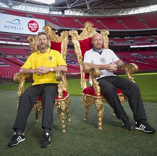 Burnley and Pendle Citizen: Alan Shearer and Robbie Savage will go head to head in the Sport Relief Battle of the Backsides - a race to be the first to sit on half the seats in Wembley Stadium (Sport Relief/PA)