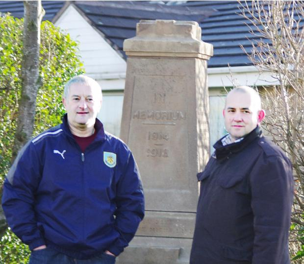 Burnley and Pendle Citizen: The men who worked on the restored memorial. From left, Charlie Briggs and Neil Mottershead. Above, how it looked before the makeover