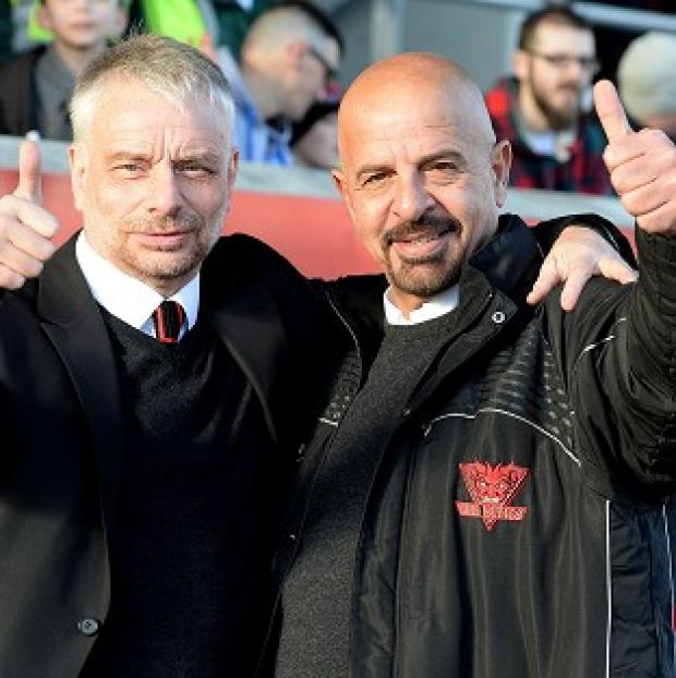 Burnley and Pendle Citizen: Salford Red Devils coach Brian Noble, left, is backing his owner Marwan Koukash's radical salary-cap plan