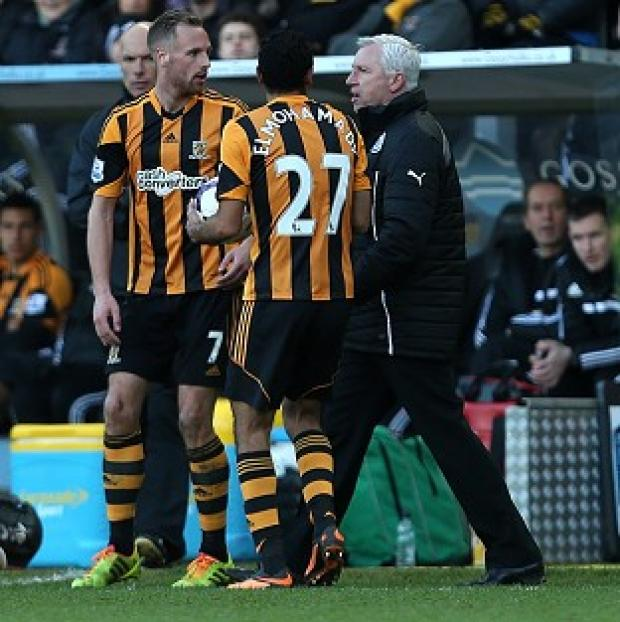 Burnley and Pendle Citizen: Alan Pardew, right, was sent to the stands after his confrontation with David Meyler, left, during Saturday's match at the KC Stadium