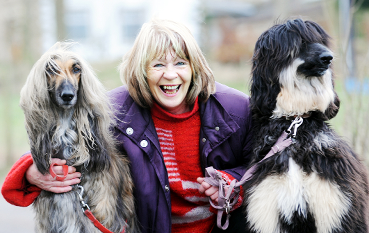 Pauline Metcalf with her Afghan hounds Sylas and Sienna