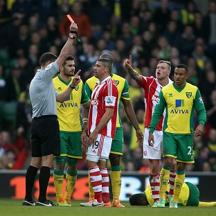 Jonathan Walters was sent off just minutes after equalising for Stoke