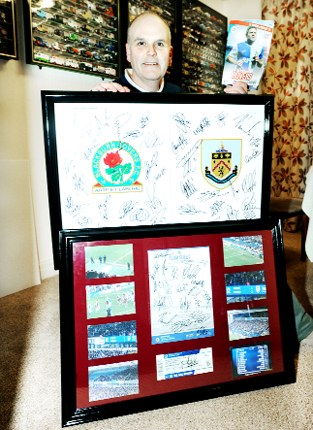 Rovers fan John Wyche with the historic match day souvenirs