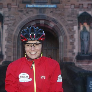 Davina McCall at the start of her Sport Relief challenge