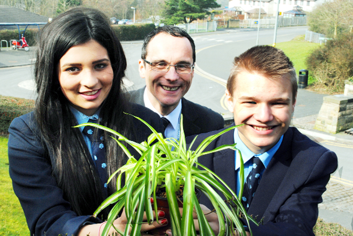 Deputy head Simon Varley with Leah Cassell and Dean Metcalfe