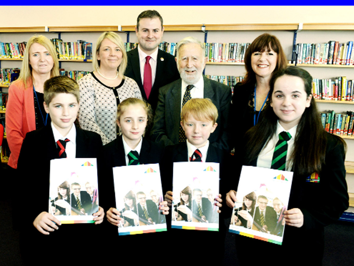 Back from left, headteacher Lynne Blomley, executive principal Anita Ghidotti, MP Andrew Stevenson, Councillor John David and chair of governors Amanda Melton. Front, pupils Liam Green, Chloe Normanton, Sam Parry and Colette Partridge.