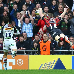 Chris Ashton goes in for one of Saracens' tries