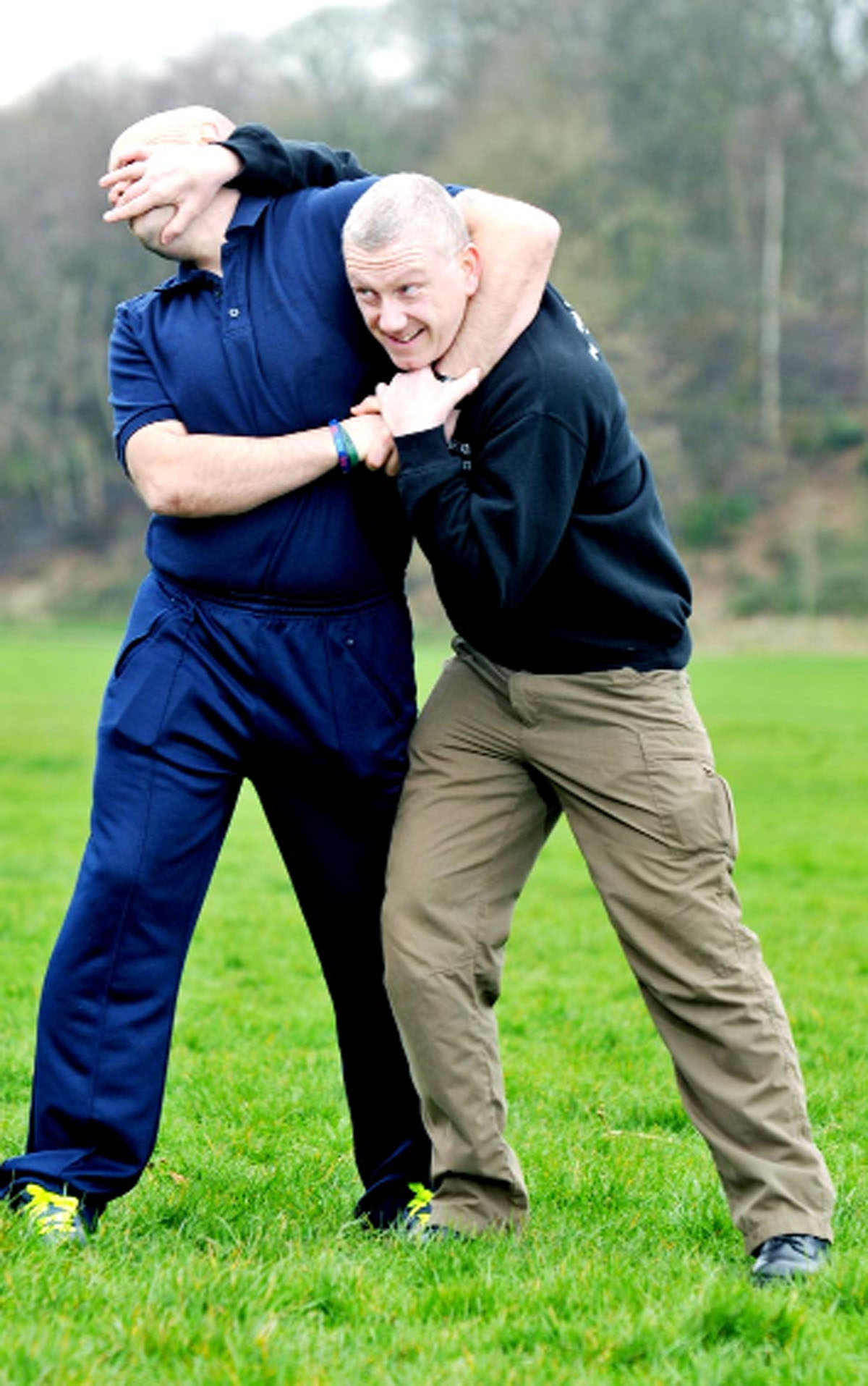 Neil Jeffrey, right, demonstrates his moves at Witton Park, Blackburn, with volunteer Paul Wright