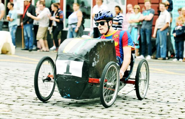 Burnley and Pendle Citizen: A scene from the pedal car grand prix in Darwen which Nelson now aims to match