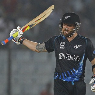 Brendon McCullum acknowledges the crowed after scoring a half century (AP)