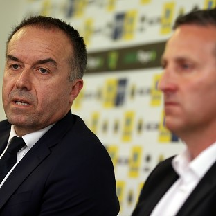 David McNally, left, has not ruled out Neil Adams securing the Norwich job on a permanent basis